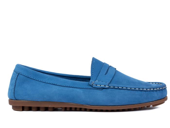 Mocassino azzurro nabuk